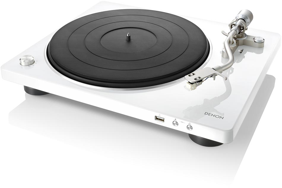 Denon DP-400 White - poloautomatický gramofón s S-Shape ramienkom