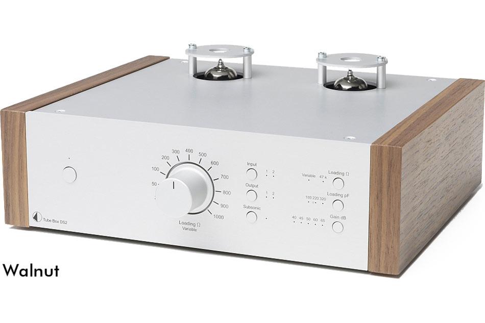 ro-Ject Tube Box DS2 silver-walnut - gramofónový dual mono MM/MC predzosilňovač